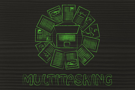 multitude: organizing and scheduling your tasks: laptop and a multitude of documents