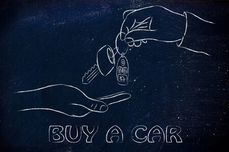 keyless: hand giving and taking car keys with remote, concept of renting or buying a new car