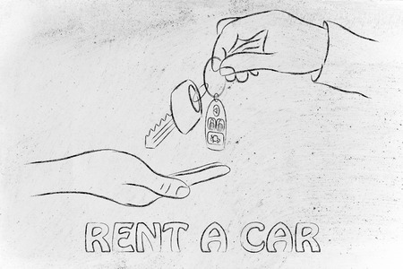 new entry: hand giving and taking car keys with remote, concept of renting or buying a new car