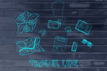 time sharing: Travel life: desk with travel essentials