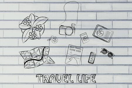 organising: holiday planning and organising: desk with travel essentials