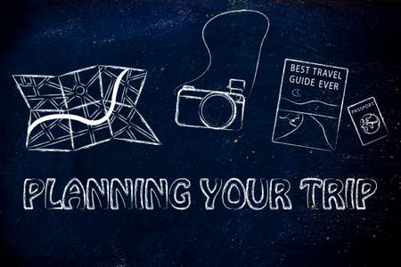 exploring: planning trips and exploring the world: camera, map, passport and guide