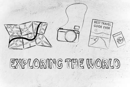 time sharing: planning trips and exploring the world: camera, map, passport and guide