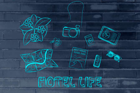 time sharing: Hotel life: desk with travel essentials