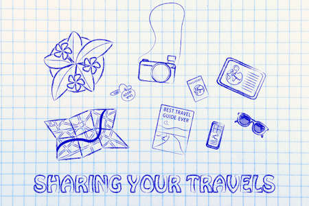 time sharing: Sharing your travels: desk with travel essentials