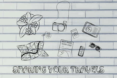 wander: Sharing your travels: desk with travel essentials