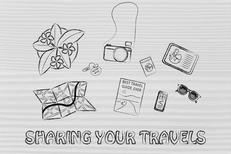 time sharing: holiday planning and organising: desk with travel essentials