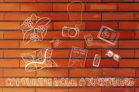 capturing: Capturing your adventures: desk with travel essentials