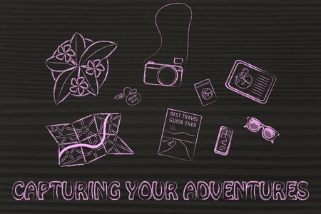 time sharing: Capturing your adventures: desk with travel essentials