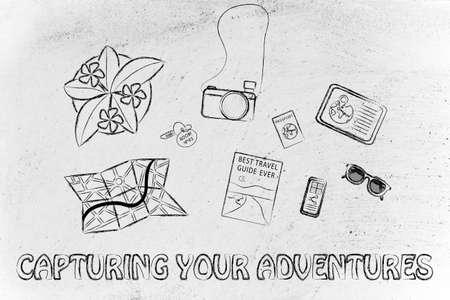 capturing: capturing your adventures: desk with travel essentials Stock Photo