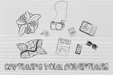 time sharing: capturing your adventures: desk with travel essentials Stock Photo