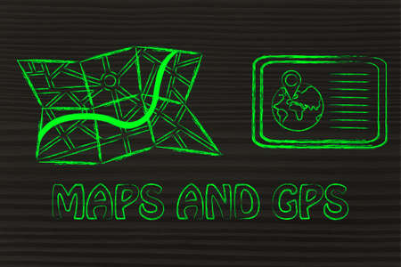 finding your way: concept of finding your way when travelling: maps and gps devices Stock Photo