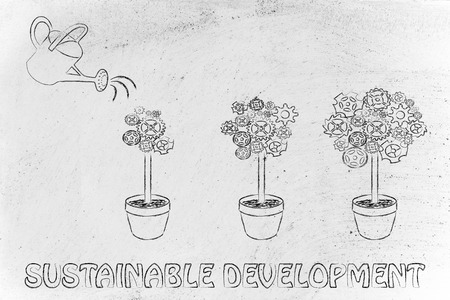 land management: Sustainable development: watering can making a gearwheel mechanism tree grow bigger