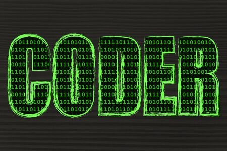 coder: the word Coder with a binary code pattern fill and chalk-like strokes Stock Photo