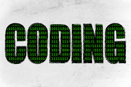 compiler: the word Coding with a binary code pattern fill and chalk-like strokes