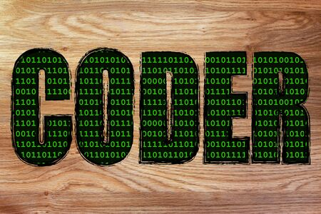 fill: the word Coder with a binary code pattern fill and chalk-like strokes Stock Photo
