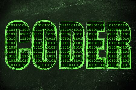 filling folder: the word Coder with a binary code pattern fill and chalk-like strokes Stock Photo