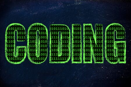filling folder: the word Coding with a binary code pattern fill and chalk-like strokes