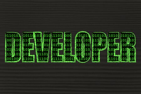 filling folder: the word Developer with a binary code pattern fill and chalk-like strokes