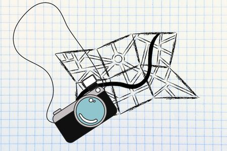 wander: city map and camera, symbols of holidays and the travel industry Stock Photo