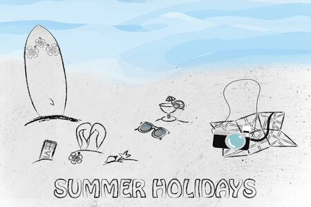 booking: booking holidays and the travel industry: beach with tourists objects