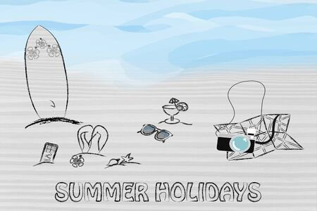 travel industry: booking holidays and the travel industry: beach with tourists objects