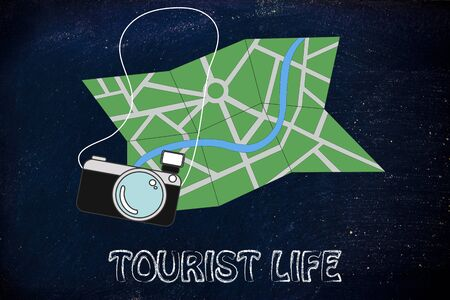 travel industry: city map and camera, symbols of holidays and the travel industry Stock Photo