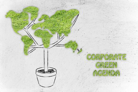 land management: corporate green agenda and the green economy: plant with the shape of a world map and grass texture