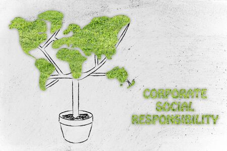 responsabilidad: la responsabilidad social de las empresas: la planta con la forma de un mapa del mundo y textura de la hierba