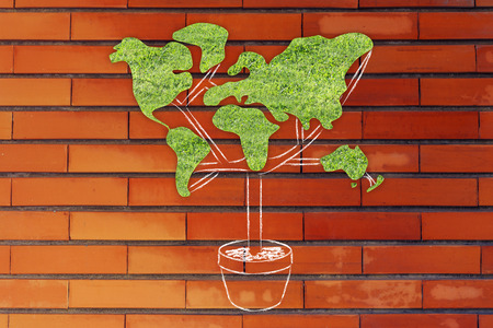 social behaviour: the green economy: plant with the shape of a world map and grass texture