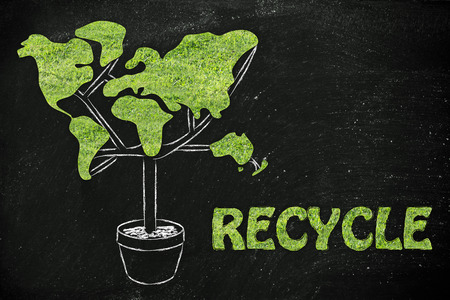 social behaviour: recycling and the green economy: plant with the shape of a world map and grass texture