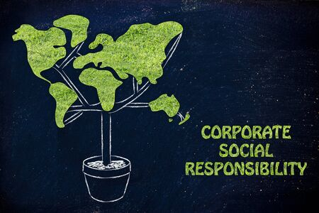 corporate responsibility: corporate social responsibility: plant with the shape of a world map and grass texture