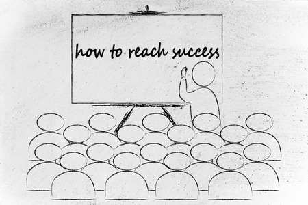 lecturer: conference, presentation, or school class with lecturer depicting the way to success