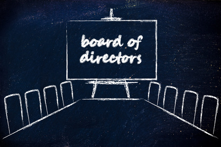 board of directors, meeting room with long table and whiteboard Stock Photo