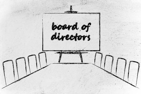 conseil d'administration, salle de réunion avec une longue table et tableau blanc Banque d'images