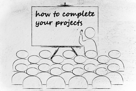 lecturer: conference, presentation, or school class with lecturer depicting how to complete your projects