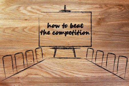 beat the competition: board meeting room with whiteboard and writing how to beat the competition Stock Photo