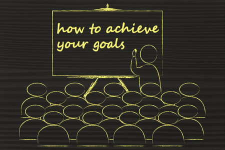 lecturer: conference, presentation, or school class with lecturer depicting how to achieve your goals