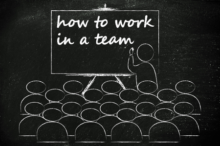 lecturer: conference, presentation, or school class with lecturer depicting how to work in a team Stock Photo