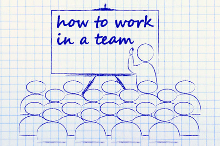 conference, presentation, or school class with lecturer depicting how to work in a team Stock Photo