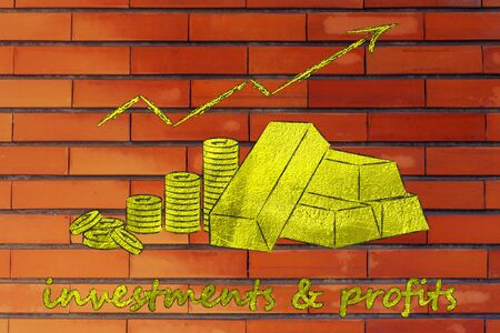 economic interest: concept of investments & profits: gold bars and coins with rates going up