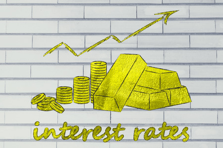 interest rates: concept of good interest rates: gold bars and coins with rates going up