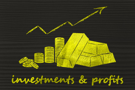 going up: concept of investments & profits: gold bars and coins with rates going up