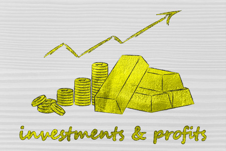 rates: concept of investments & profits: gold bars and coins with rates going up