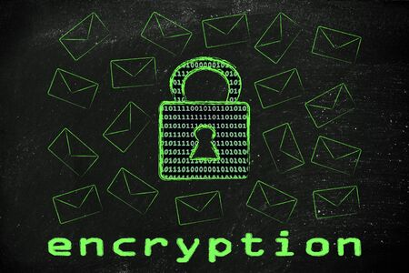 encryption: data transfer security and encryption: lock with binary code texture surrounded by flying mails Stock Photo