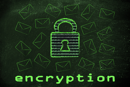 binary code: data transfer security and encryption: lock with binary code texture surrounded by flying mails Stock Photo