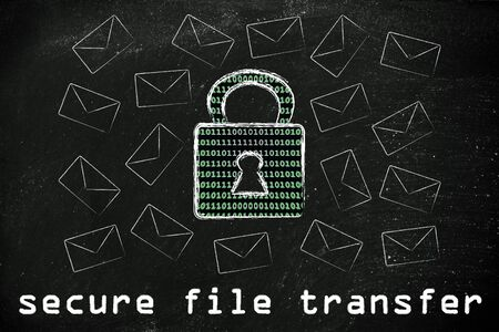 binary file: secure file transfer and encryption: lock with binary code texture surrounded by flying mails