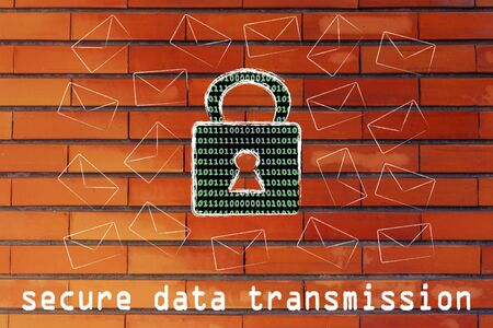 data transmission: secure data transmission and encryption: lock with binary code texture surrounded by flying mails