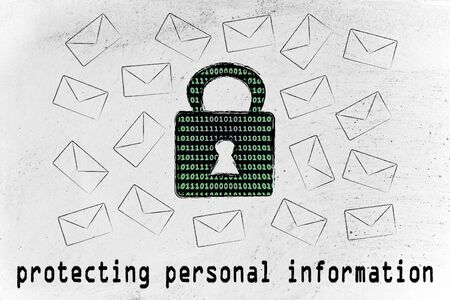 protecting personal information and encryption: lock with binary code texture surrounded by flying mails