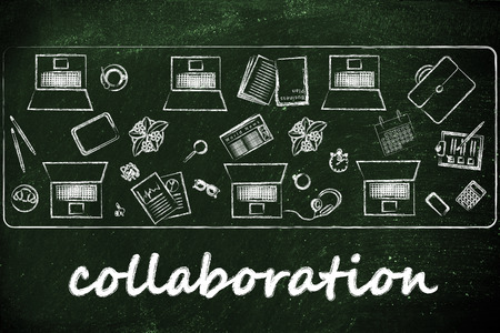 shared: organizing and collaborating: laptops and office objects on shared desk